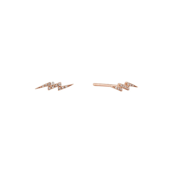 14k Diamond Lightning Bolt Studs