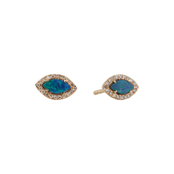 Diamond Opal Evil Eye Studs