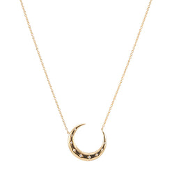 Diamond Crescent Moon Starburst Necklace