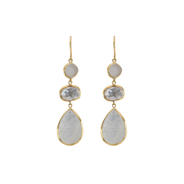 Three stone drop earrings with white moonstone and clear quartz