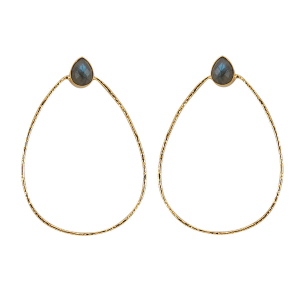 front facing teardrop shaped hoops with labradorite stud