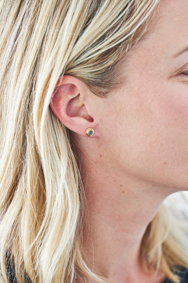 petite bezel-set stud earrings with labradorites