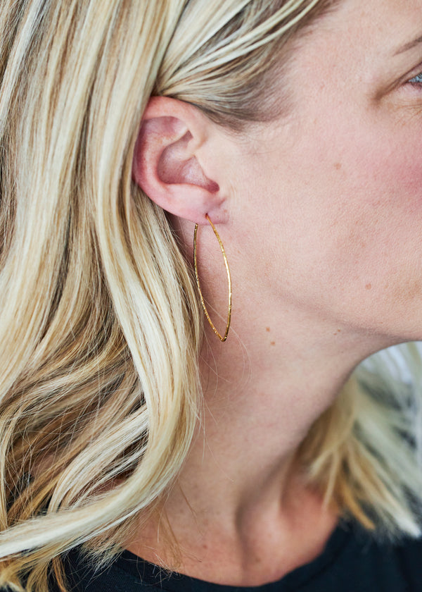 Oval Hammered Hoops