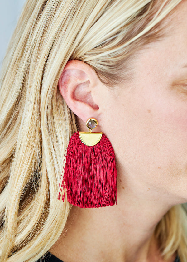 tassel earring in cranberry red with labradorite stud