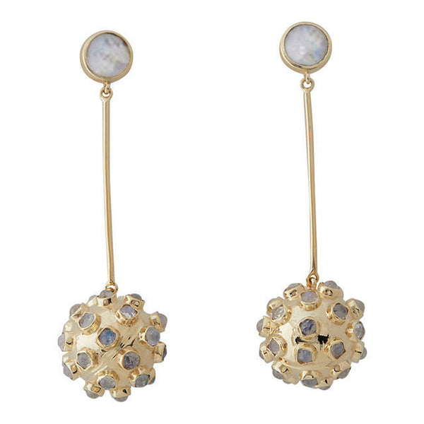 ball drop earrings with a moonstone stud and moonstones