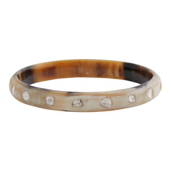 Horn and Diamond Slice Bangle (white)