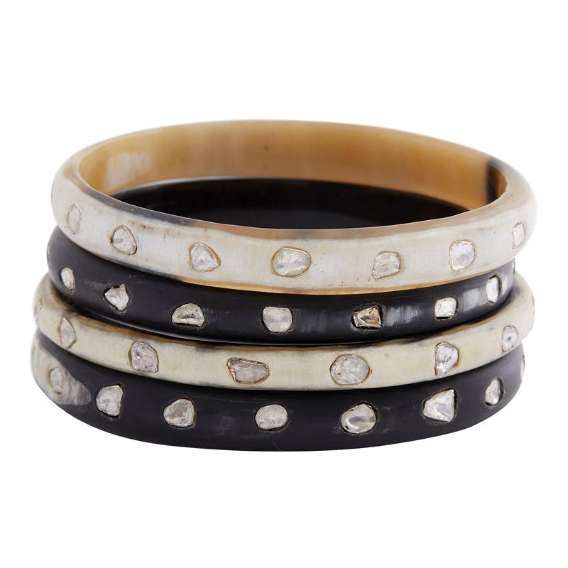 Horn and Diamond Slice Bangle (black)