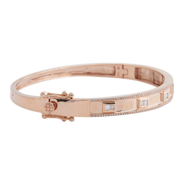 14k Rose Gold Emerald Cut Diamond Bangle