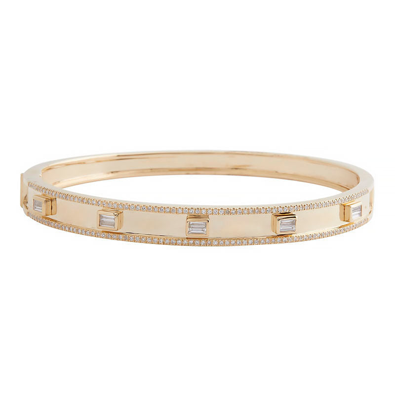 14k Yellow Gold Emerald Cut Diamond Bangle