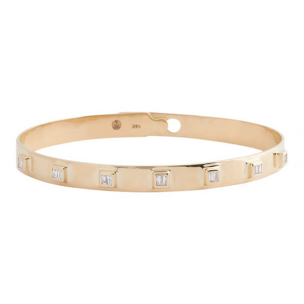 14k Diamond Baguette Bangle