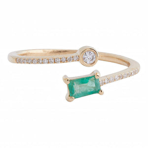Emerald and Diamond Ring - size 7