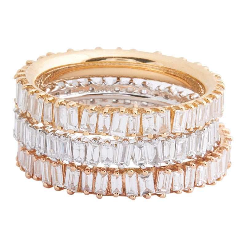 18k Rose Gold Baguette Band - size 7