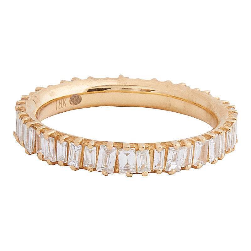 18k Yellow Gold Baguette Band - size 6