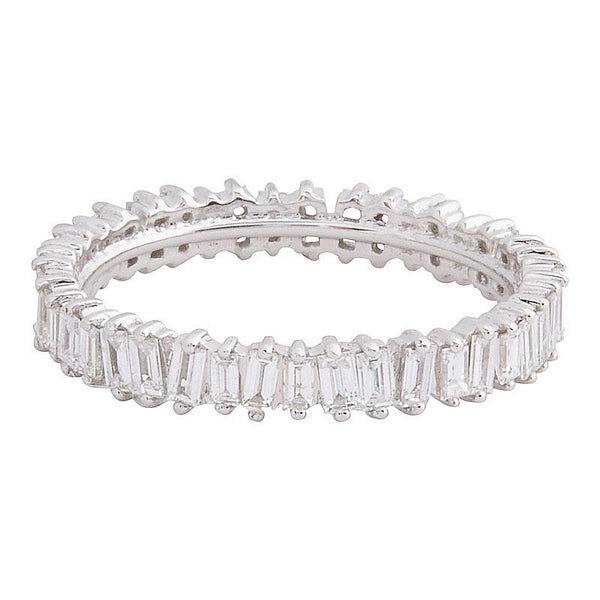 18k White Gold Baguette Band - size 6