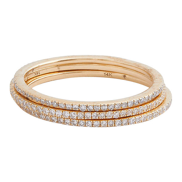 delicate eternity band ring in yellow gold with diamond pavé