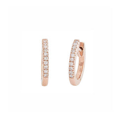 Diamond Huggie Studs - Rose Gold