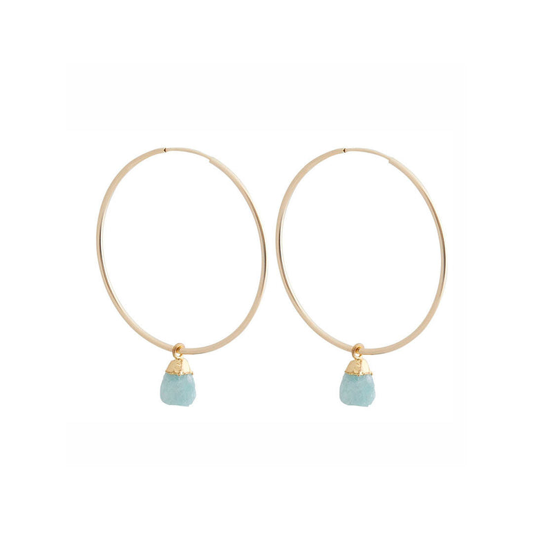 Faceted Stone Hoops - Amazonite