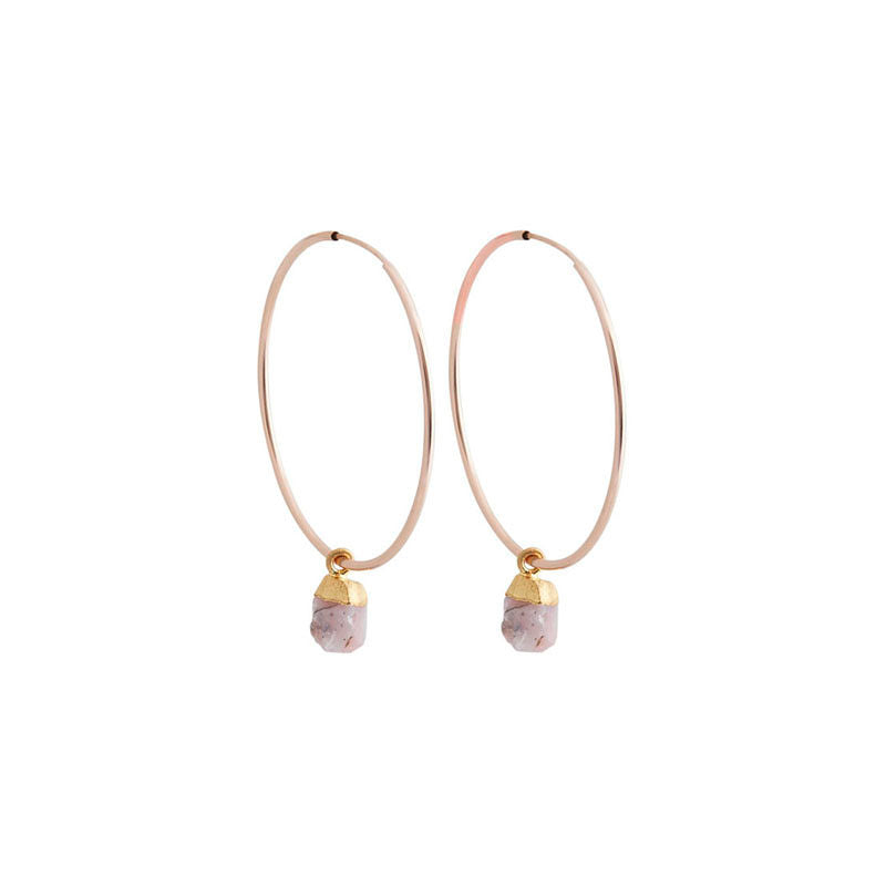 Faceted Stone Hoops - Pink Opal