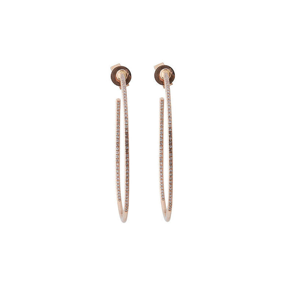 14k Rose Gold Diamond Hoops (large)