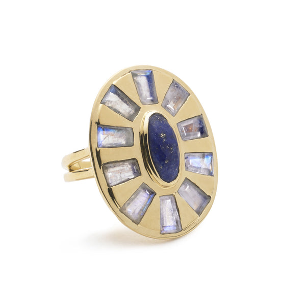 statement cocktail ring in lapis and moonstone