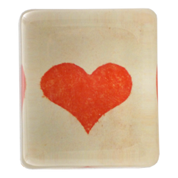 Spotted Red Heart Rectangular Paperweight