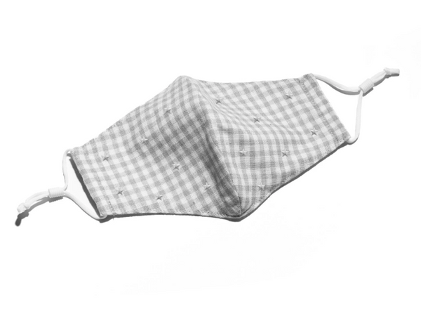 Face Mask - Grey Star Gingham