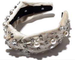 Oversized Pearl & Crystal Knotted Headband - Ivory