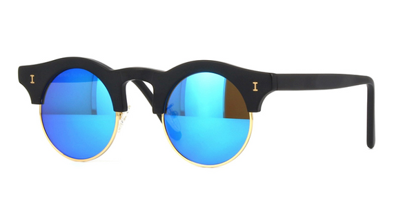 Corsica Matte Black Sunglasses with Blue Mirror Lenses