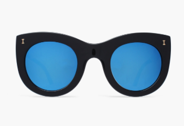 Boca II Black Sunglasses with Blue Mirrored Lenses