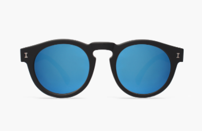 Leonard Black Sunglasses with Blue Mirror