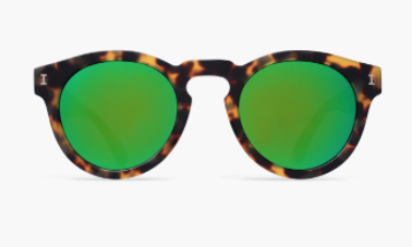 Leonard Tortoise/Clear Sunglasses with Green Mirrored Lenses