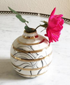 Round Marbled Bud Vase - Black Marbling with Gold Stripes