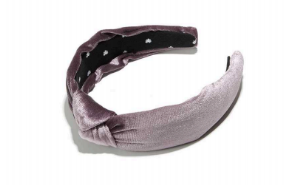 Knotted Velvet Headband - Silver Berry