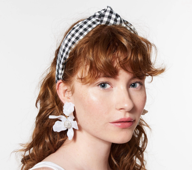 Knotted Gingham Headband - Black