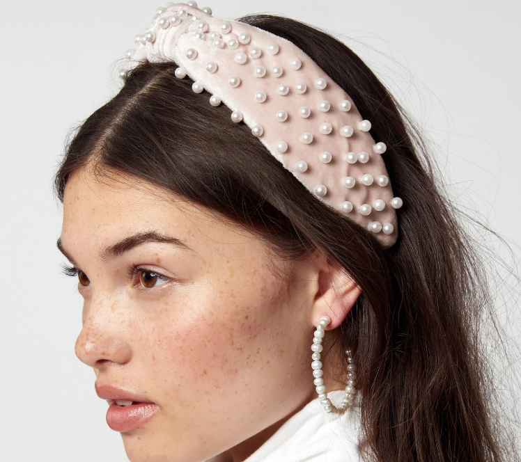Knotted Pearl Velvet Headband - Blush