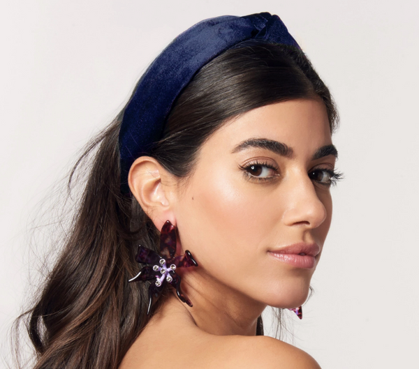 Knotted Velvet Headband - Navy