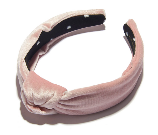 Knotted Velvet Headband - Rose