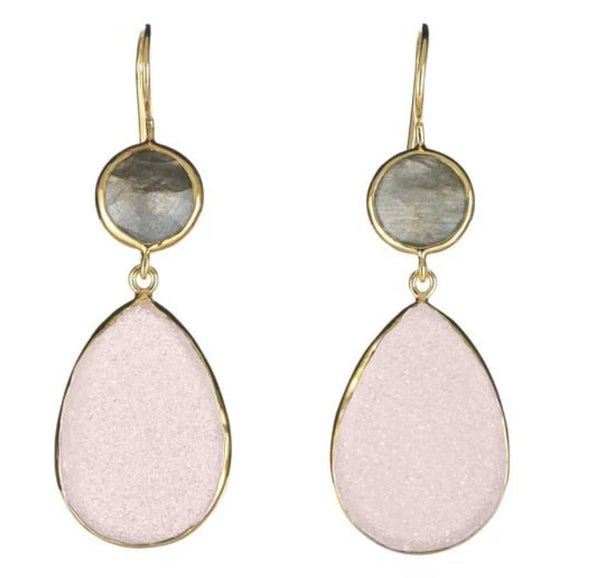 Two stone drop earrings in labradorite and pink druzy