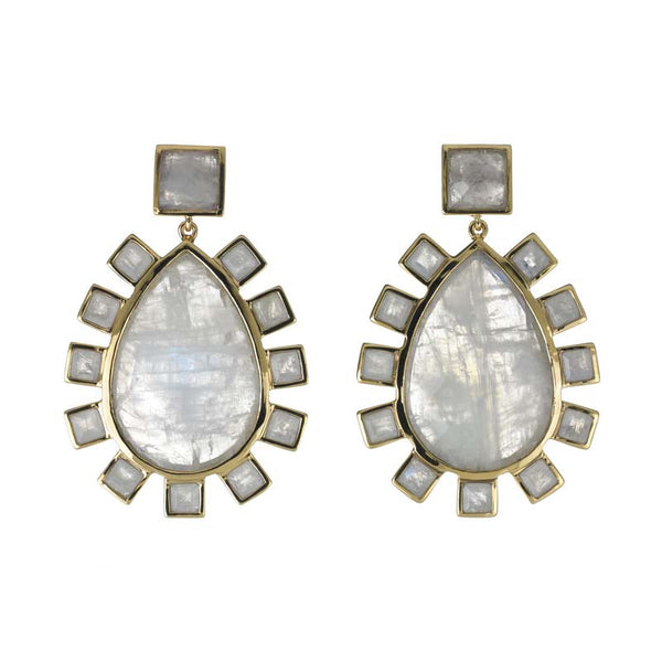 statement earrings with large moonstone teardrop and square moonstones