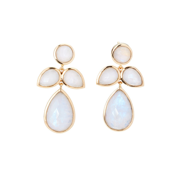 stylized flower shaped earrings in moonstone