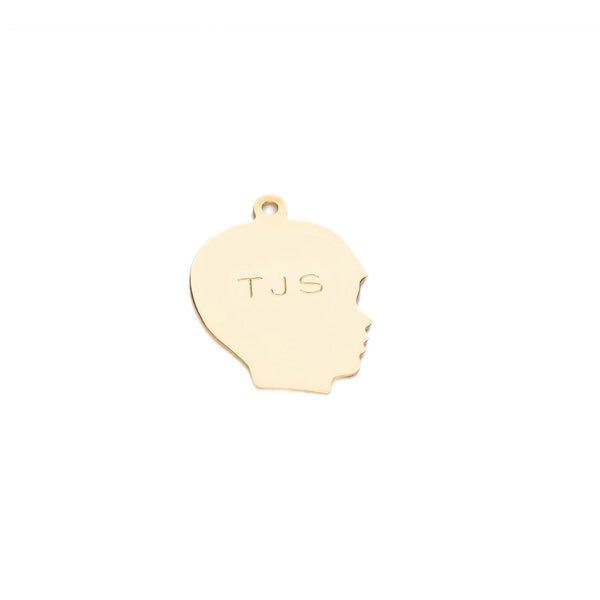 traditional boy silhouette charm in 14 karat yellow gold