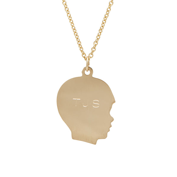 traditional boy silhouette charm on necklace in 14 karat yellow gold