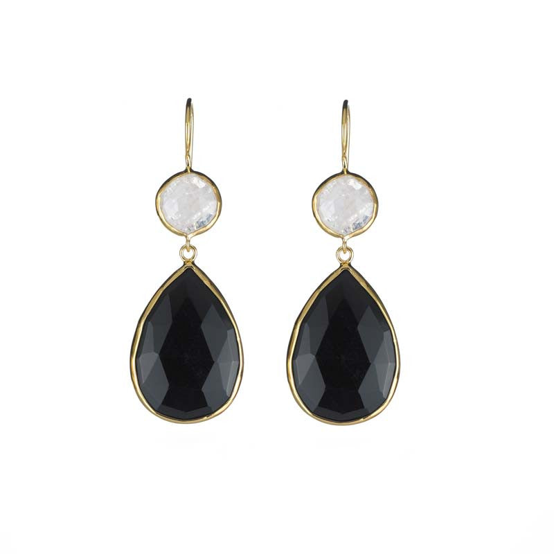 2 Stone Drops Moonstone & Black Onyx