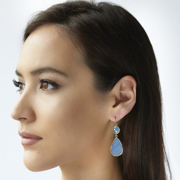 Two stone drop earrings in moonstone and labradorite