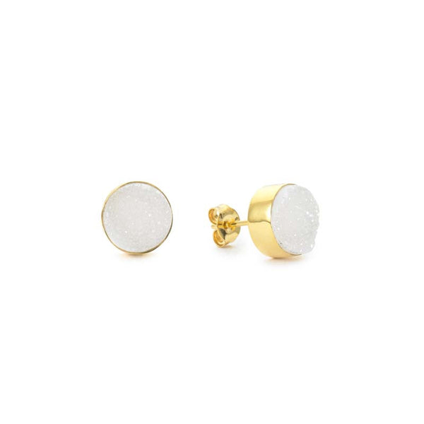 round mini stud earrings in white druzy