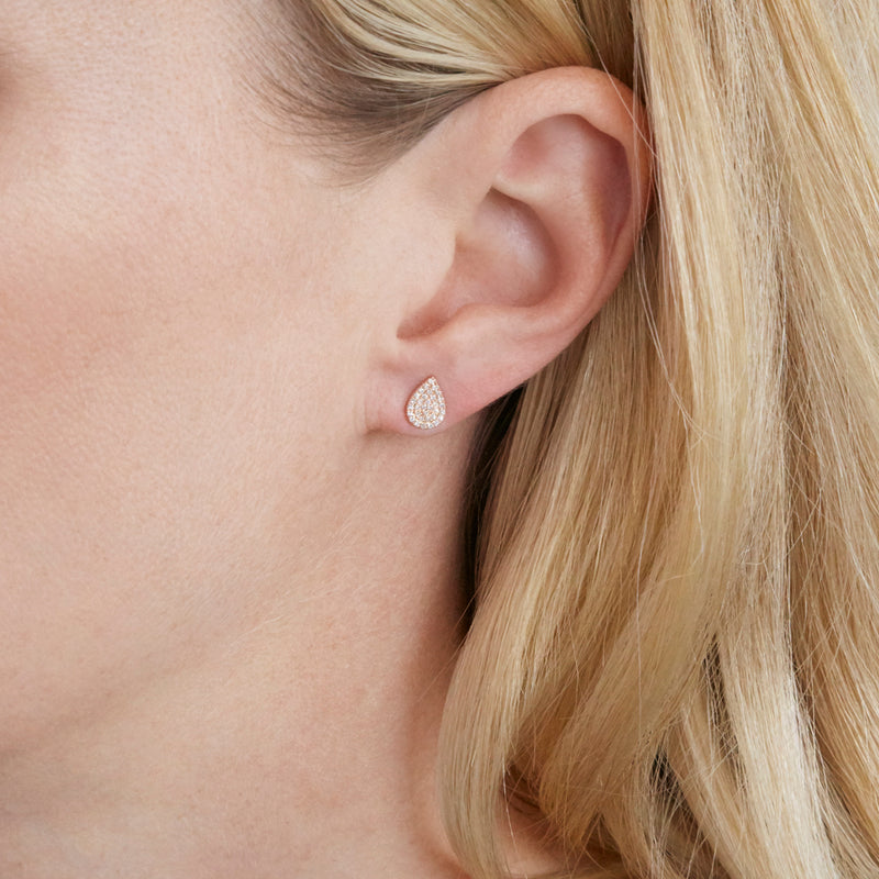 Diamond Pavé Rose Gold Pear Earrings