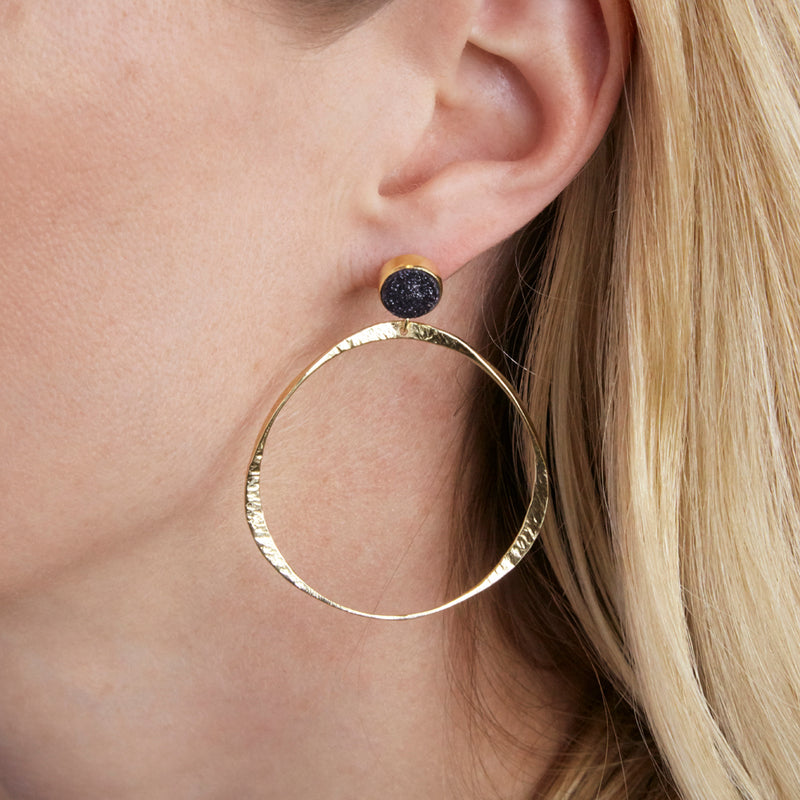 front facing hammered hoop earring with black druzy stud