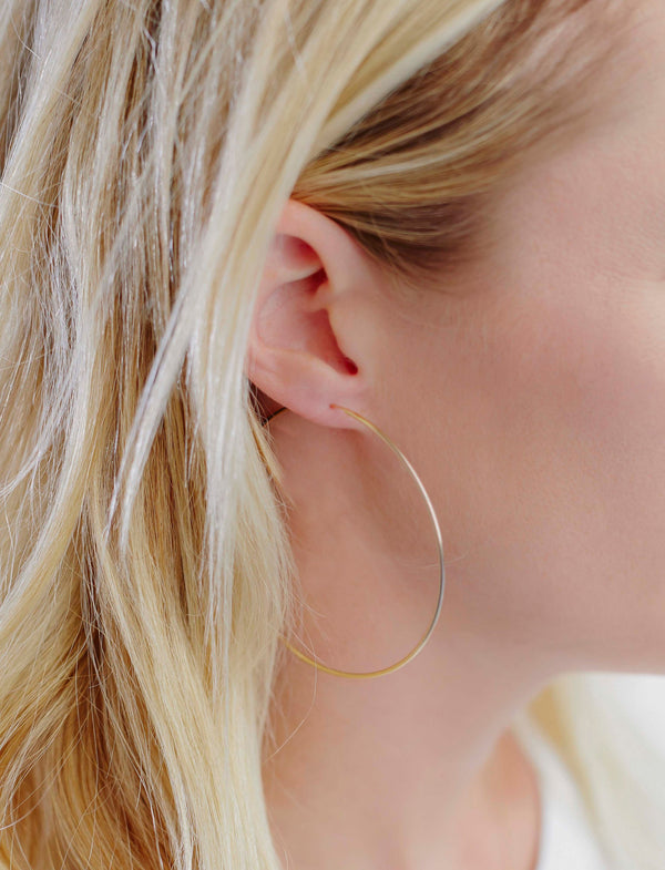 classic large hoop earrings in yellow gold vermeil