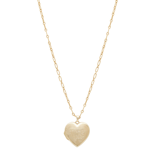 14k Gold Heart Locket Necklace