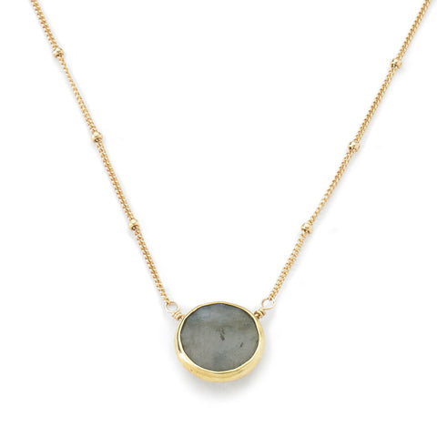 Bezel Necklace Labradorite